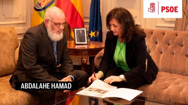socialista Concha Andreu, junto con Abdalahe Hamad, delegado del Polisario.