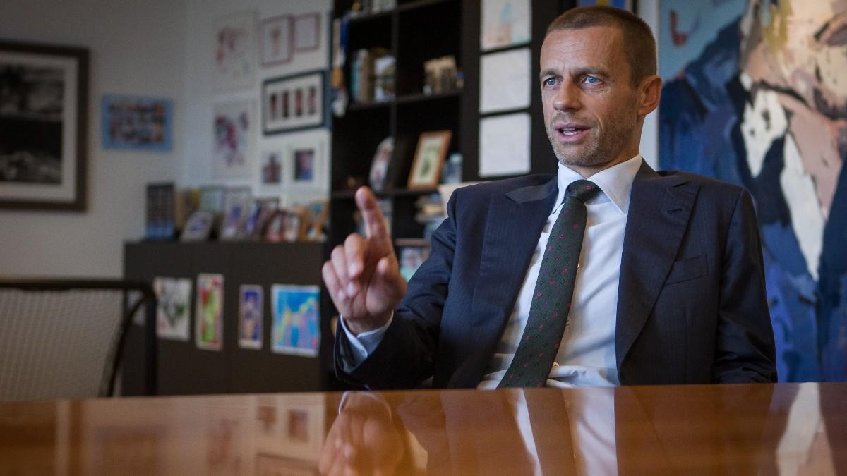 Ceferin, en la sede de la UEFA. (AFP)