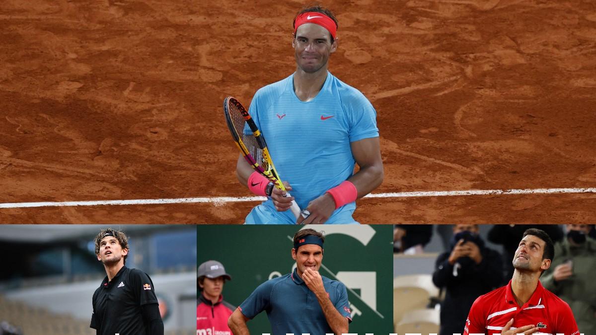 Nadal, Thiem, Federer y Djokovic. (AFP)