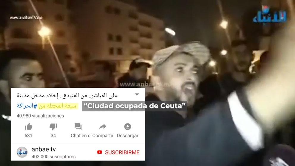 Retransmisión de una televisión marroquí del asalto de la frontera.