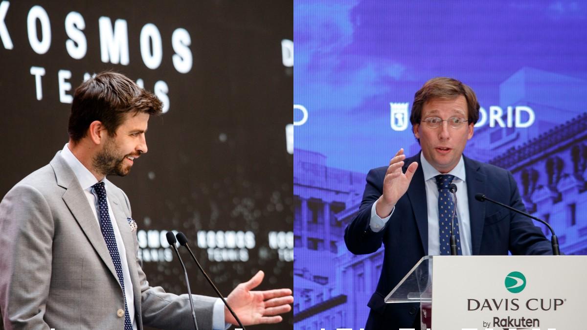 Piqué y Almeida, en la presentación de la Copa Davis. (Kosmos Tennis)
