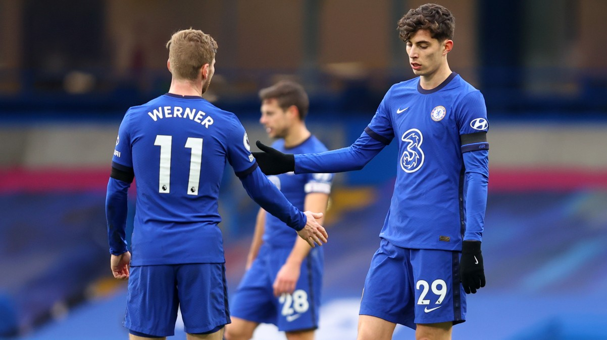 Werner y Havertz. (Getty)