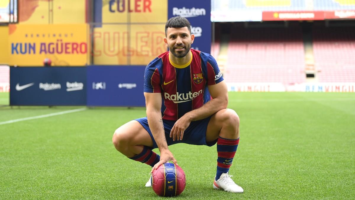 En directo: presentación de Agüero como jugador del Barcelona. (Getty)