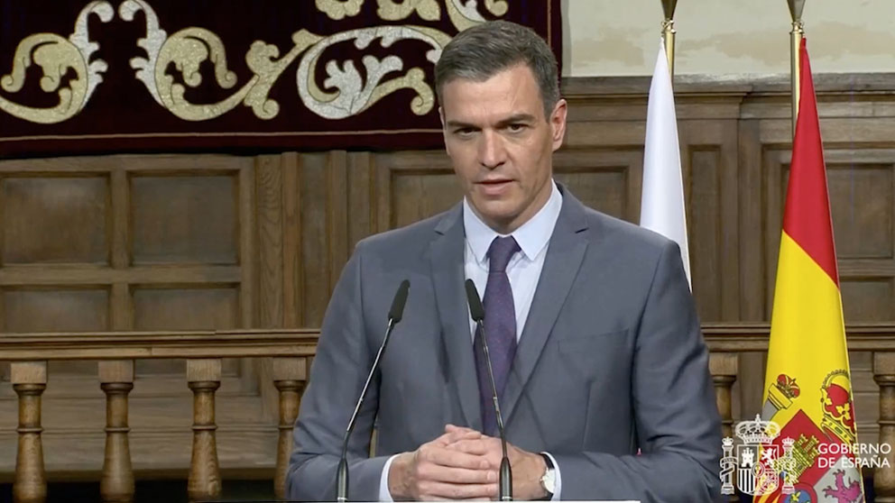 El presidente del Gobierno Pedro Sánchez en rueda de prensa