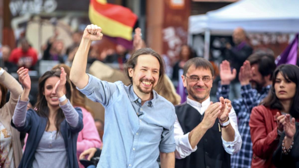 Irene Montero, Pablo Iglesias y Juan Carlos Monedero. (Foto: Europa Press)