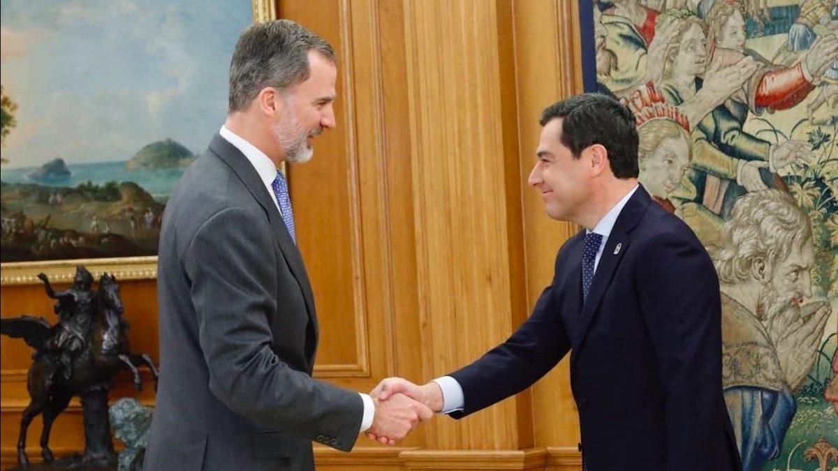 Felipe VI recibe en audiencia a Juanma Moreno en el Palacio de la Zarzuela (CASA REAL).