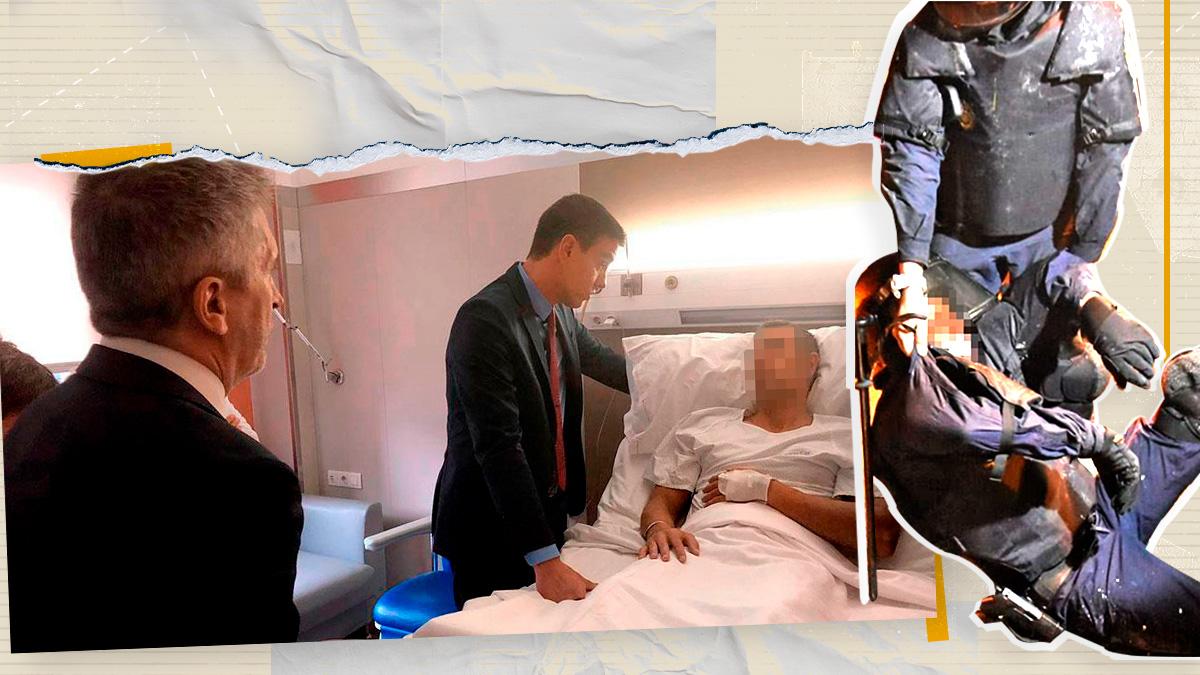 Sánchez y Marlaska visitaron a los agentes heridos en Barcelona.