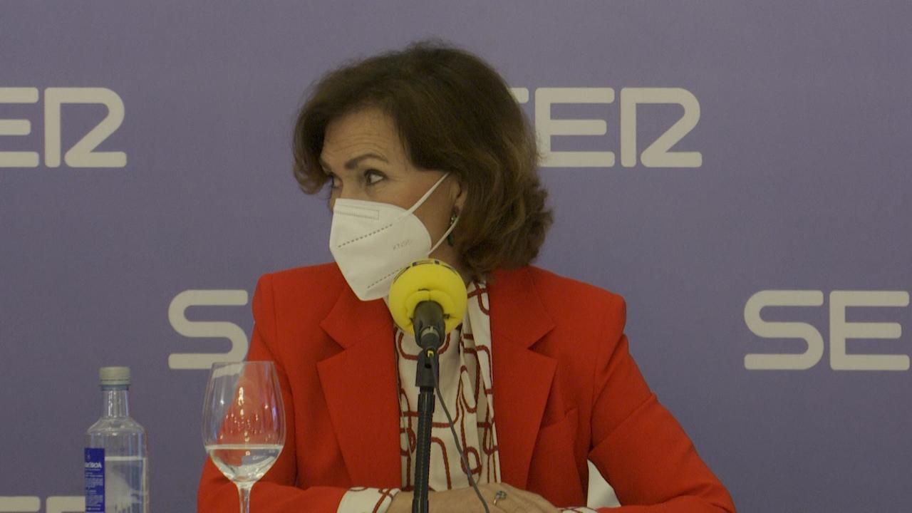 La vicepresidenta Carmen Calvo al ser preguntada sobre la nueva factura de la luz.
