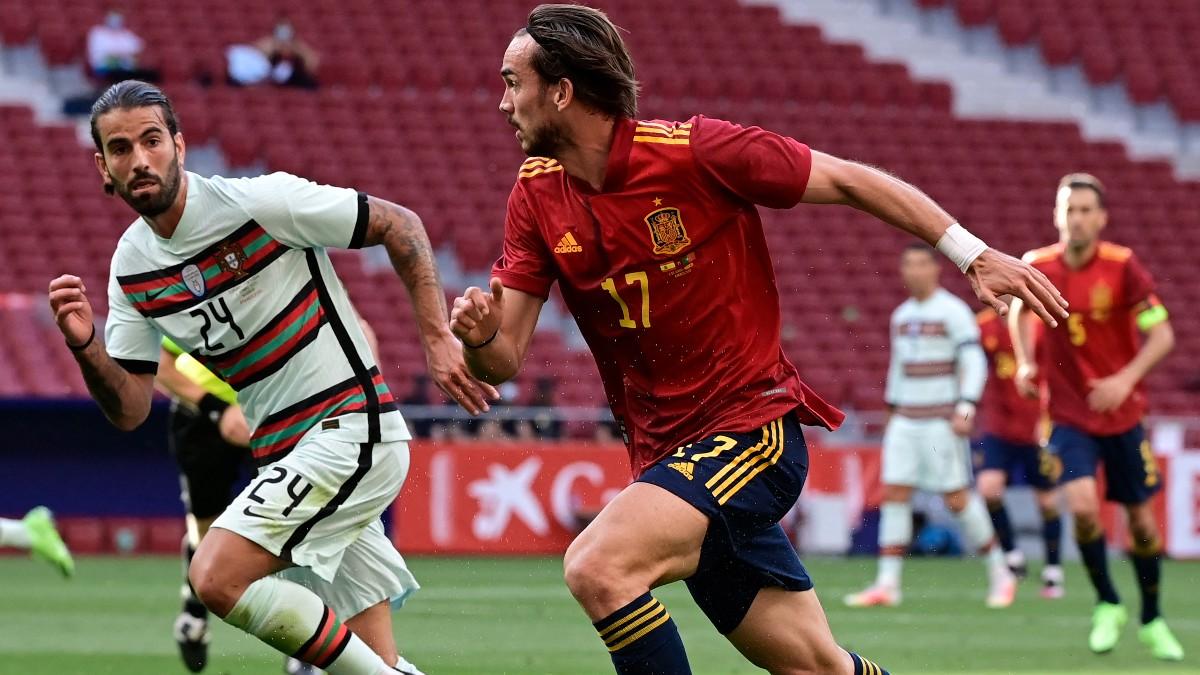 Fabián, durante un partido de la selección española. (AFP)