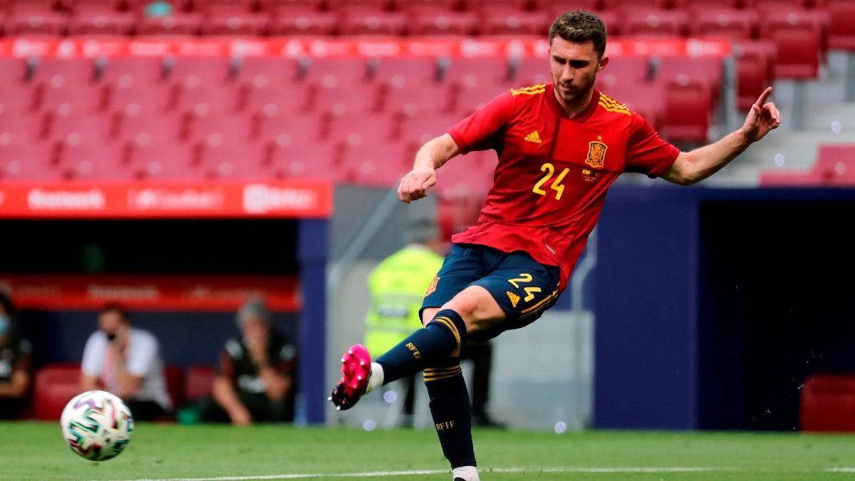 Aymeric Laporte durante el España-Portugal.