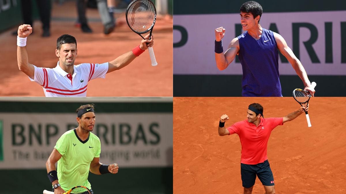 Djokovic, Nadal, Alcaraz y Federer disputan este sábado 5 la tercera ronda de Roland Garros 2021 (Getty)
