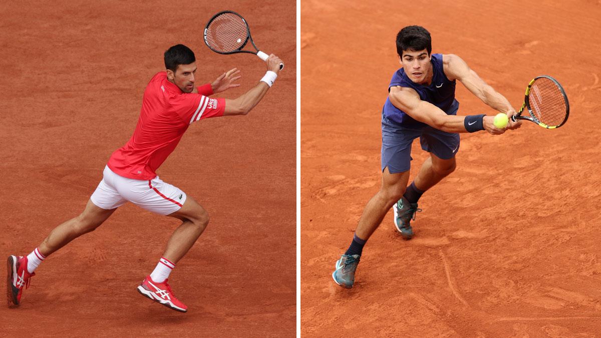 Novak Djokovic y Carlos Alcaraz, en Roland Garros 2021 (Getty/ AFP)