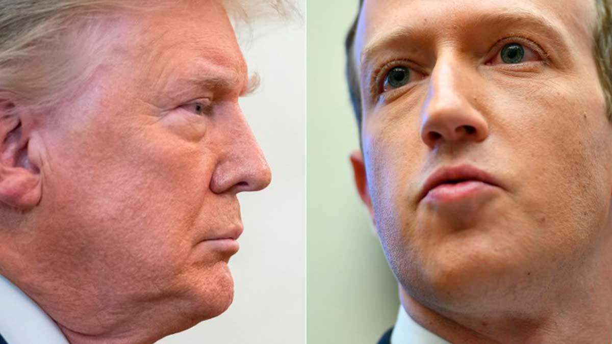 El ex presidente de EEUU, Donald Trump, y el fundador y CEO de Facebook, Mark Zuckerberg. Foto: AFP