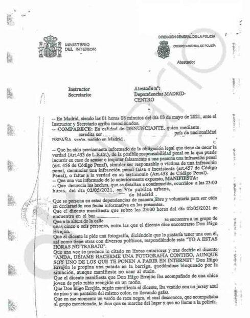 Primer folio de la denuncia presentada.