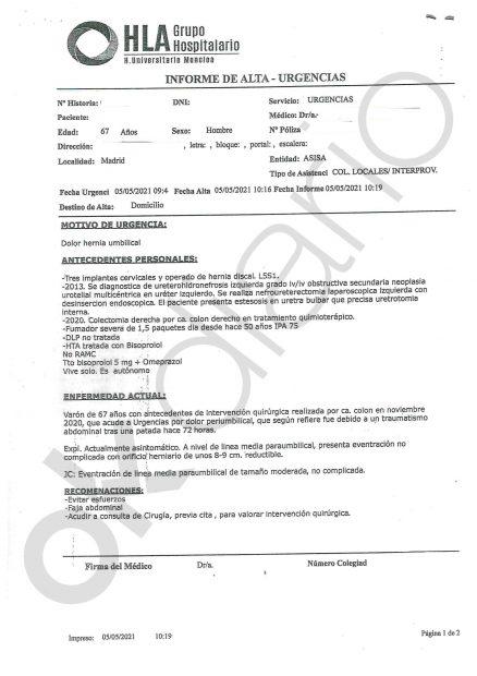 Informe médico de Urgencias.