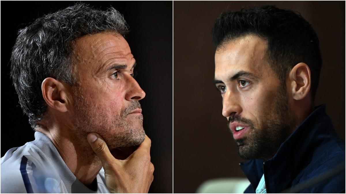 Luis Enrique y Sergio Busquets. (AFP)