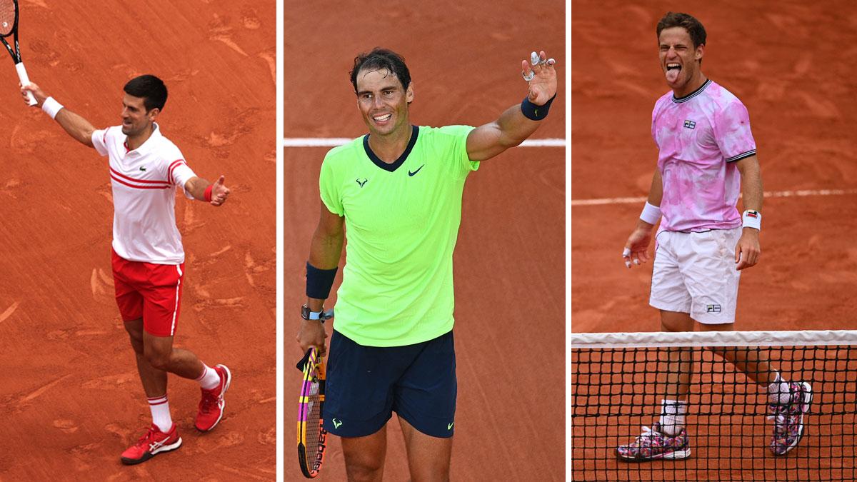 Djokovic, Nadal y Schwartzman en sus partidos de Roland Garros hoy 7 de junio (Getty/AFP)