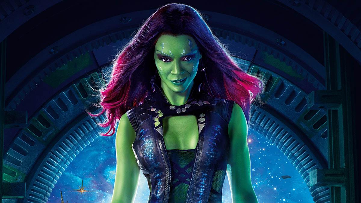 Gamora en un póster promocional de «Guardianes de la galaxia» (Disney)