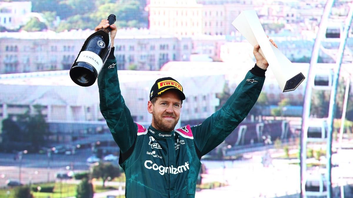 Sebastian Vettel, en el podio del Gran Premio de Azerbaiyán. (Getty)