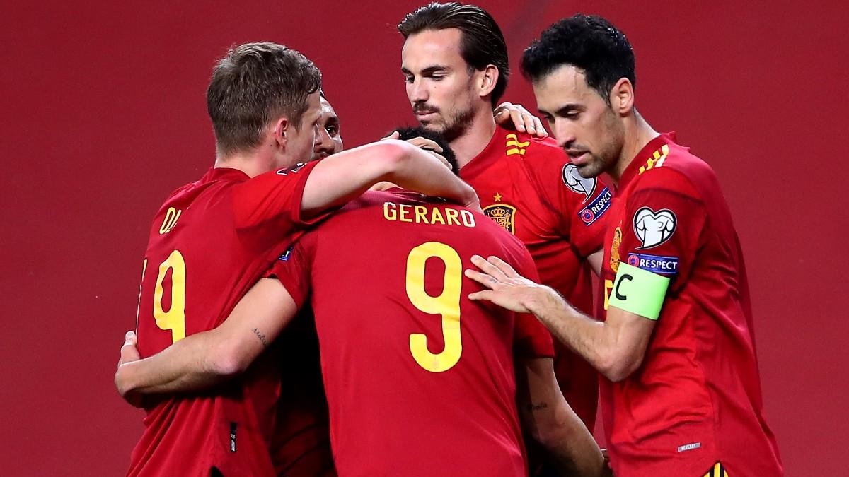 La selección española celebra un gol.