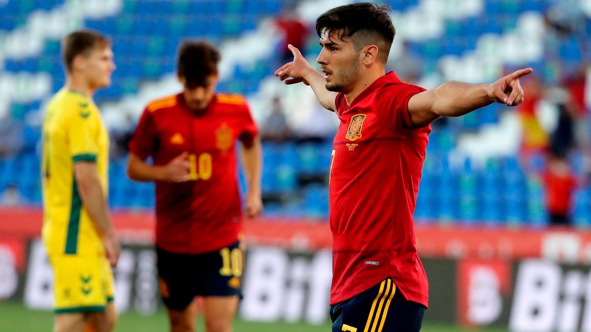 brahim celebra un gol con España. (EFE)
