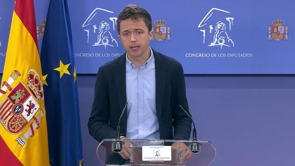 El portavoz de Más País, Íñigo Errejón, este martes en el Congreso.