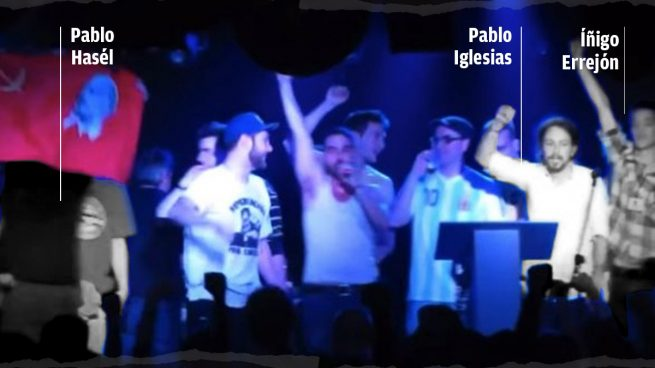 Íñigo Errejón junto a Pablo Iglesias y Pablo Hasél.