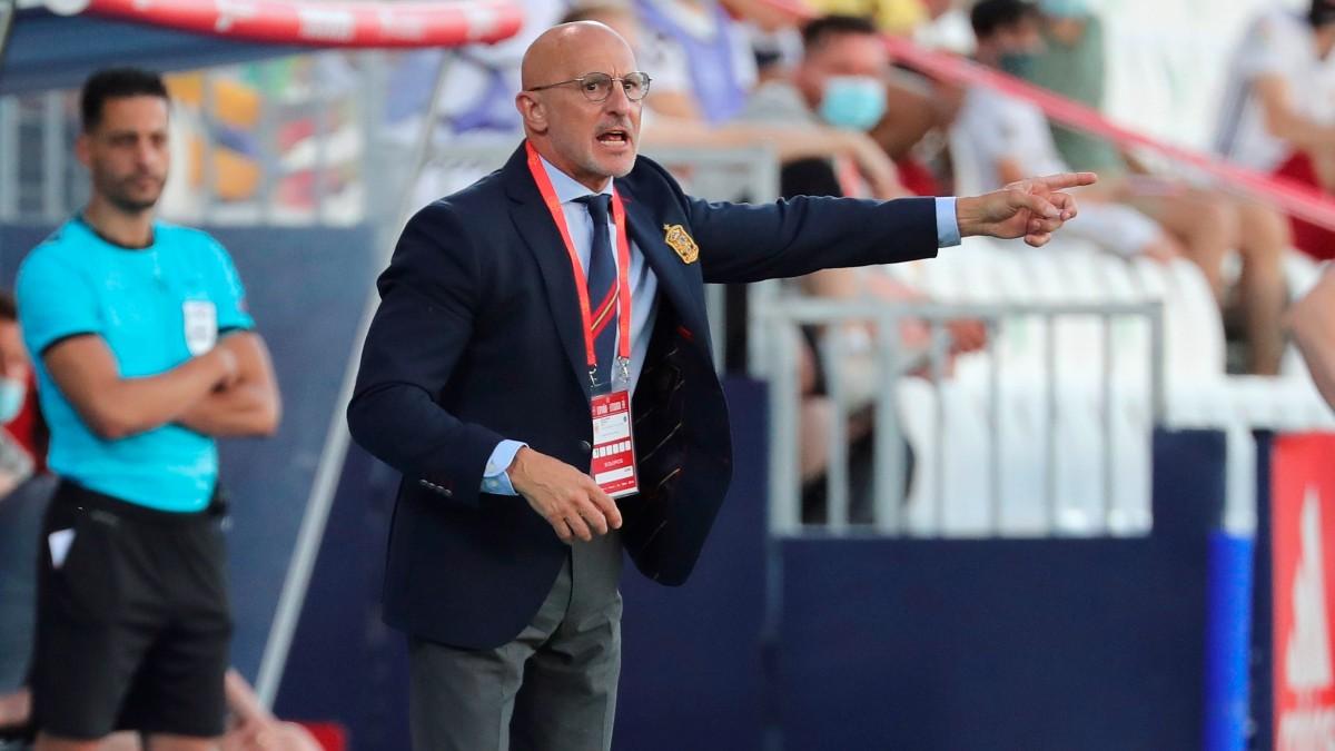 Luis de la Fuente, durante un partido de España. (EFE)