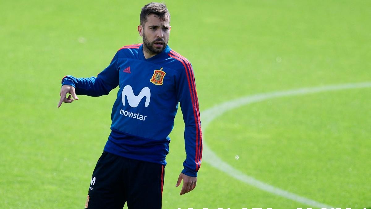Jordi Alba durante un entrenamiento con España. (AFP)