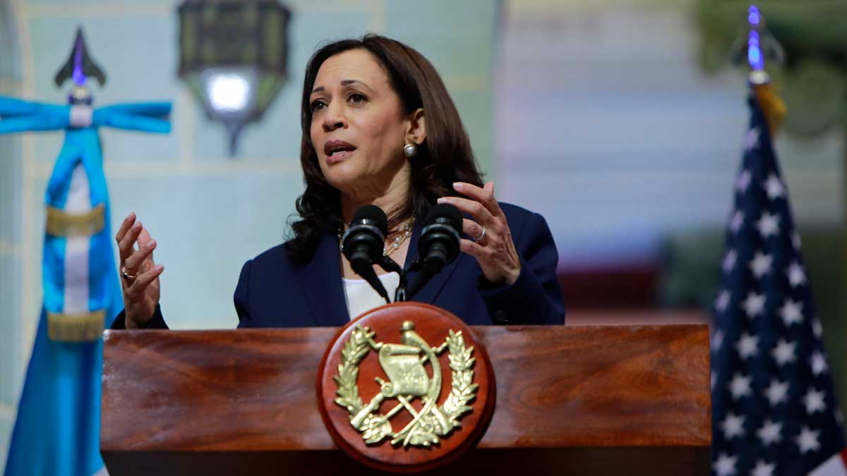 Kamala Harris, vicepresidenta de Estados Unidos, durante su visita a Guatemala. Foto: EP