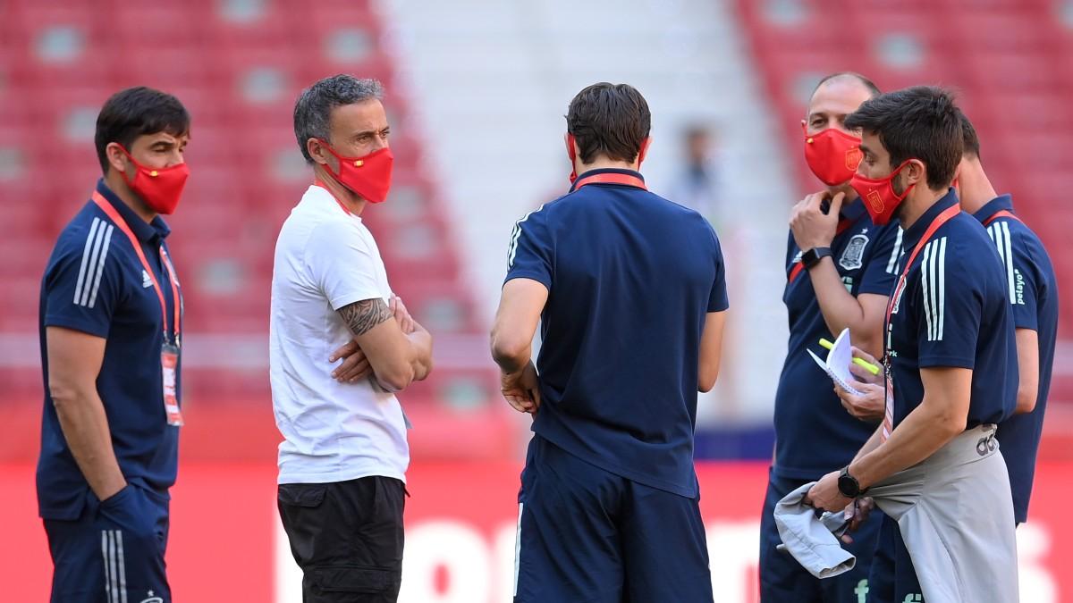 Luis Enrique y su equipo, antes del amistoso ante Portugal (Getty).