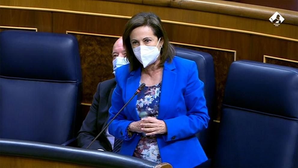 La ministra de Defensa, Margarita Robles, este miércoles en el Congreso.