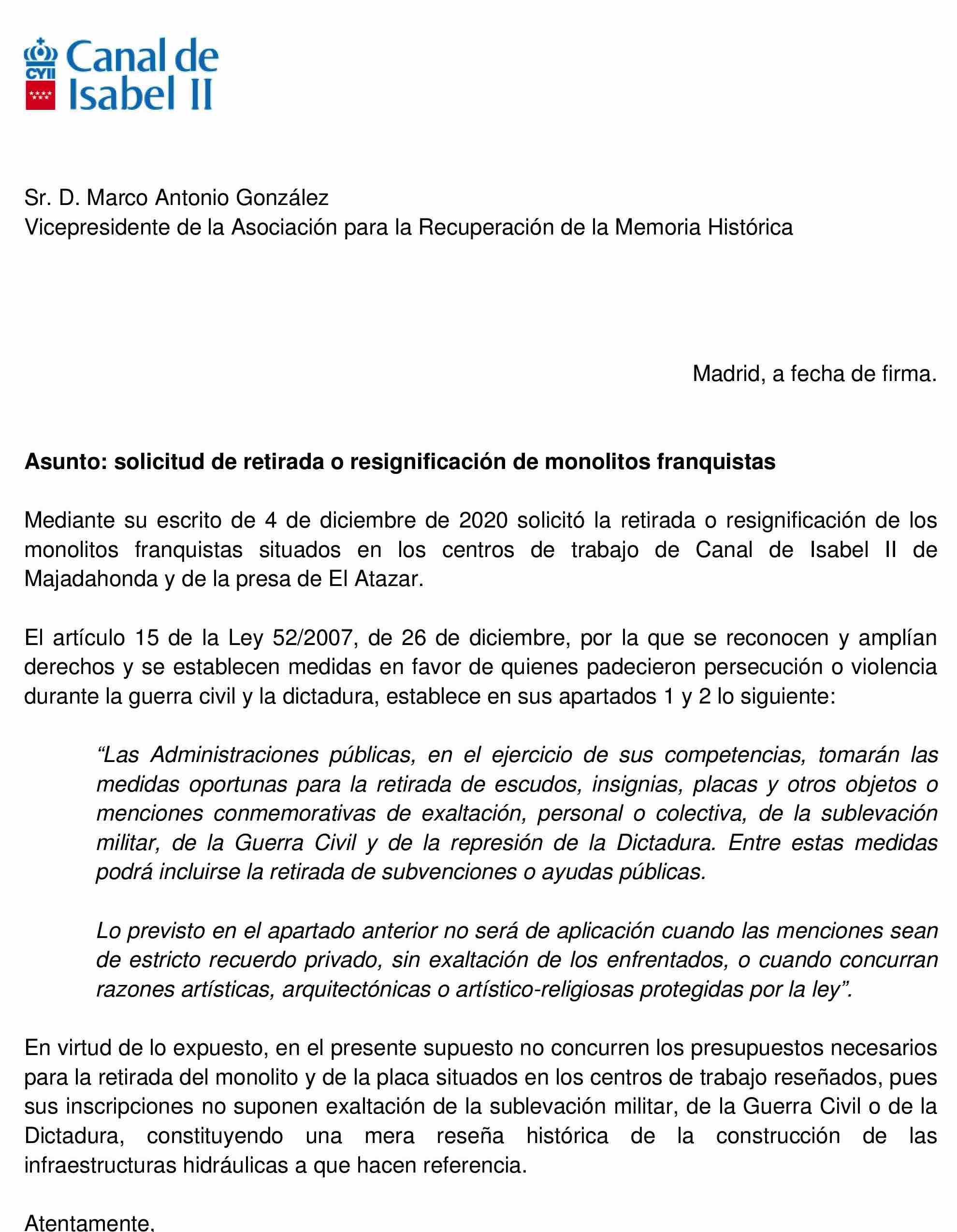 Carta del Canal.