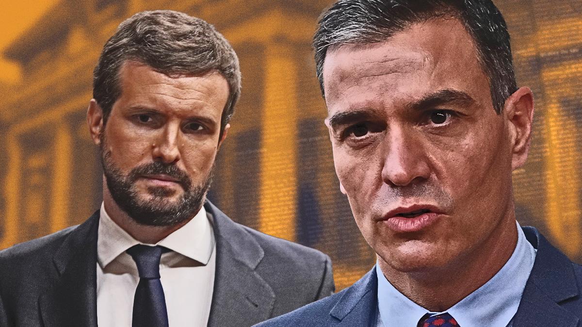 Los líderes políticos, Pablo Casado (PP) y Pedro Sánchez (PSOE).