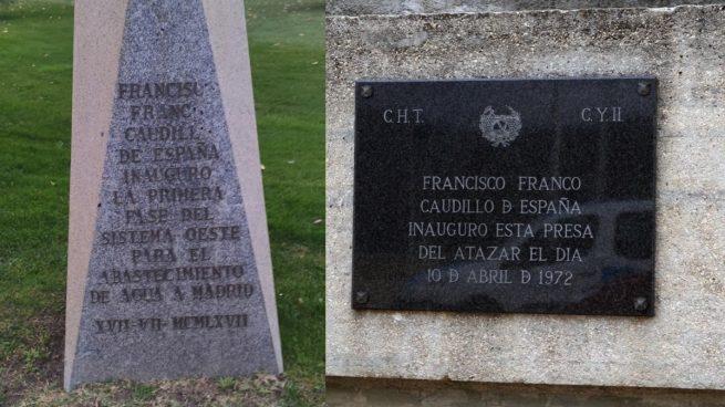 Canal de Isabel II Los dos emblemas referentes a Franco.