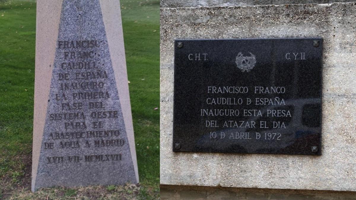 Los dos emblemas referentes a Franco.