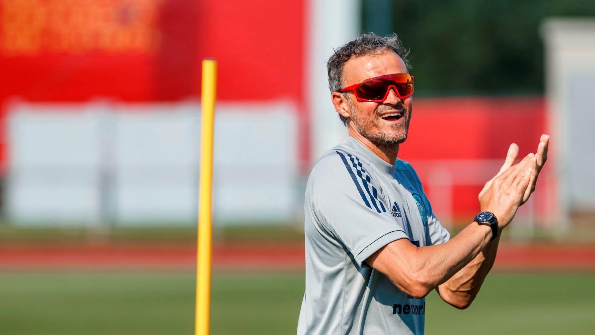 Luis Enrique, durante un entrenamiento de la selección española. (EFE)