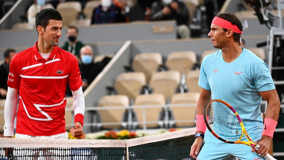 Djokovic y Nadal, antes de la final de 2020. (AFP)