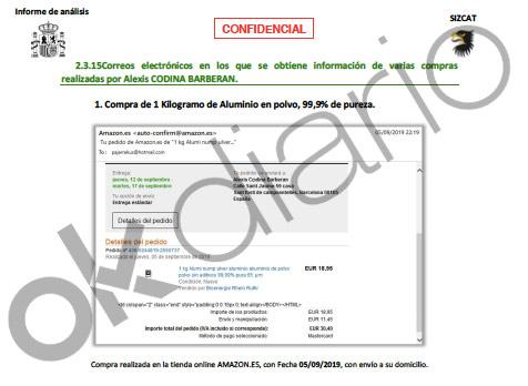Informe de la Guardia Civil en el que se refleja una factura por la compra de aluminio en polvo requisada a Alexis Codina.