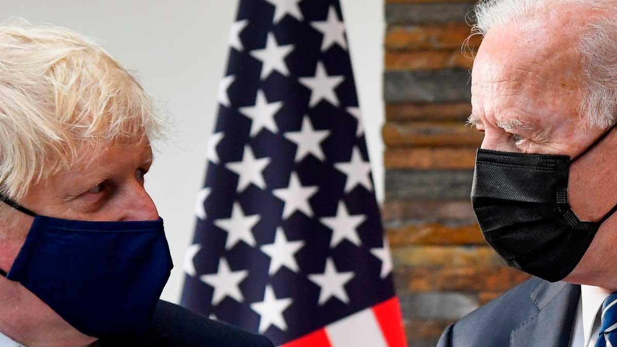 El primer ministro británico, Boris Johnson, y el presidente de los EEUU, Joe Biden. Foto: EP