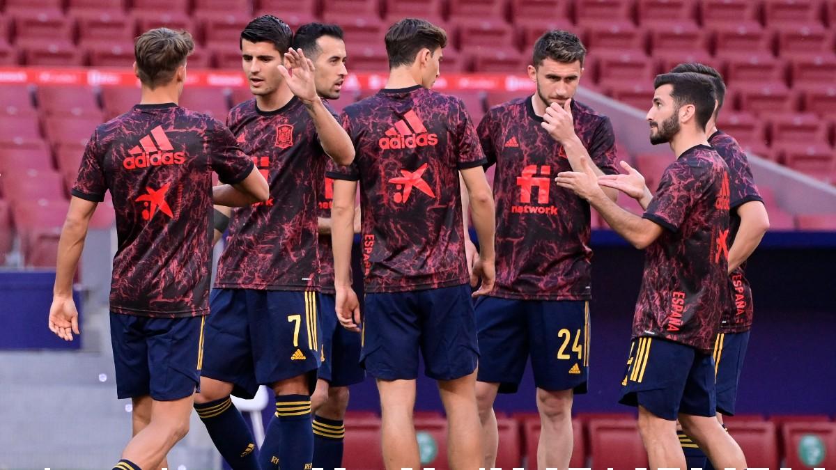 Los jugadores de España, antes de un partido. (AFP)