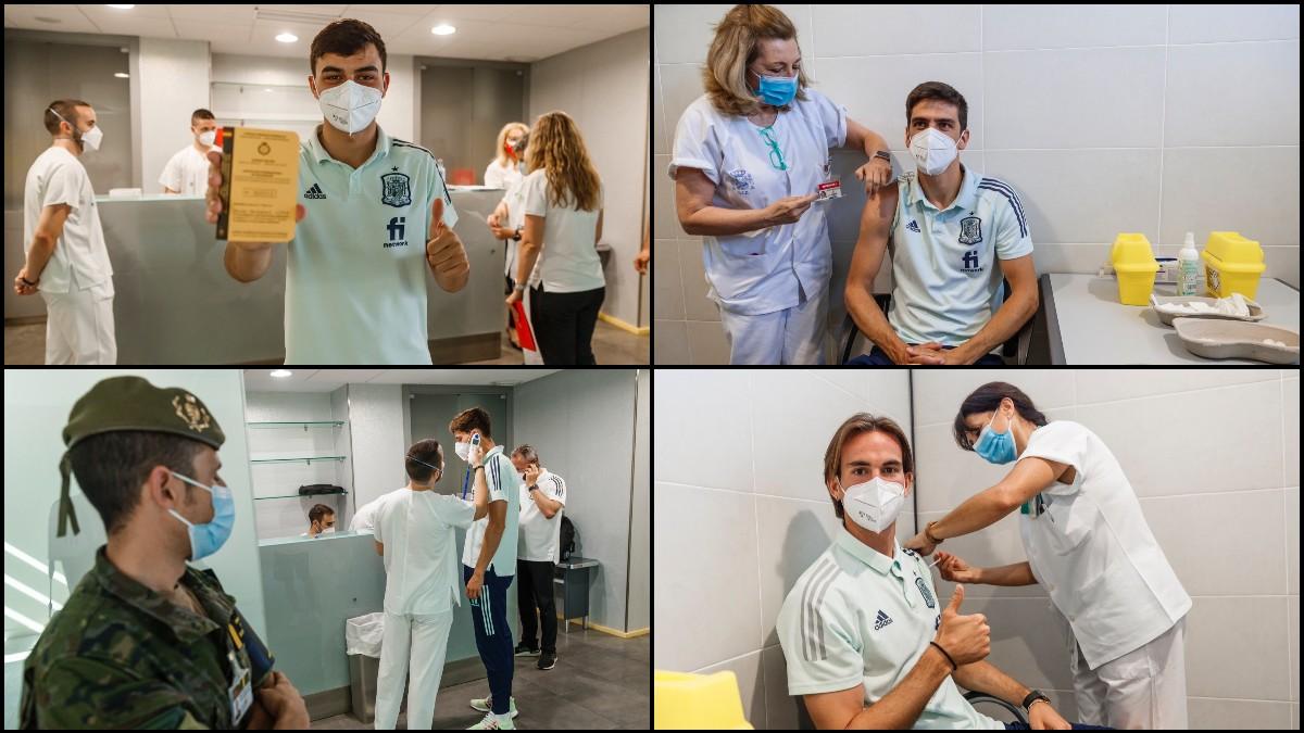 Los jugadores de la Selección fueron vacunados en Las Rozas.