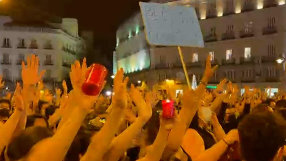 Momento de la manifestación en la Puerta del Sol.