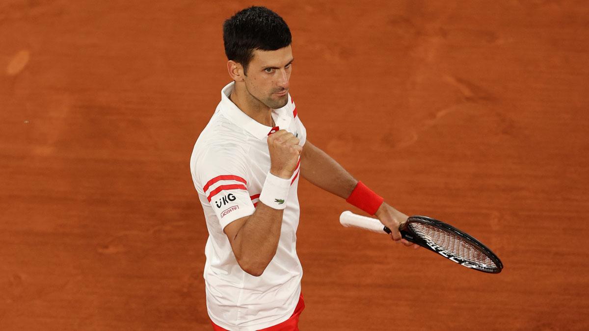 Djokovic celebra uno de los puntos durante la semifinal ante Nadal (Getty)