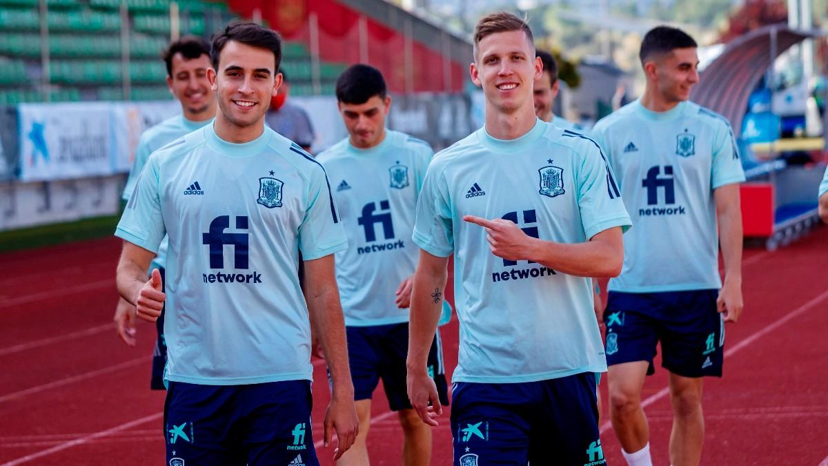 Los jugadores de la selección española en un entrenamiento. (EFE)