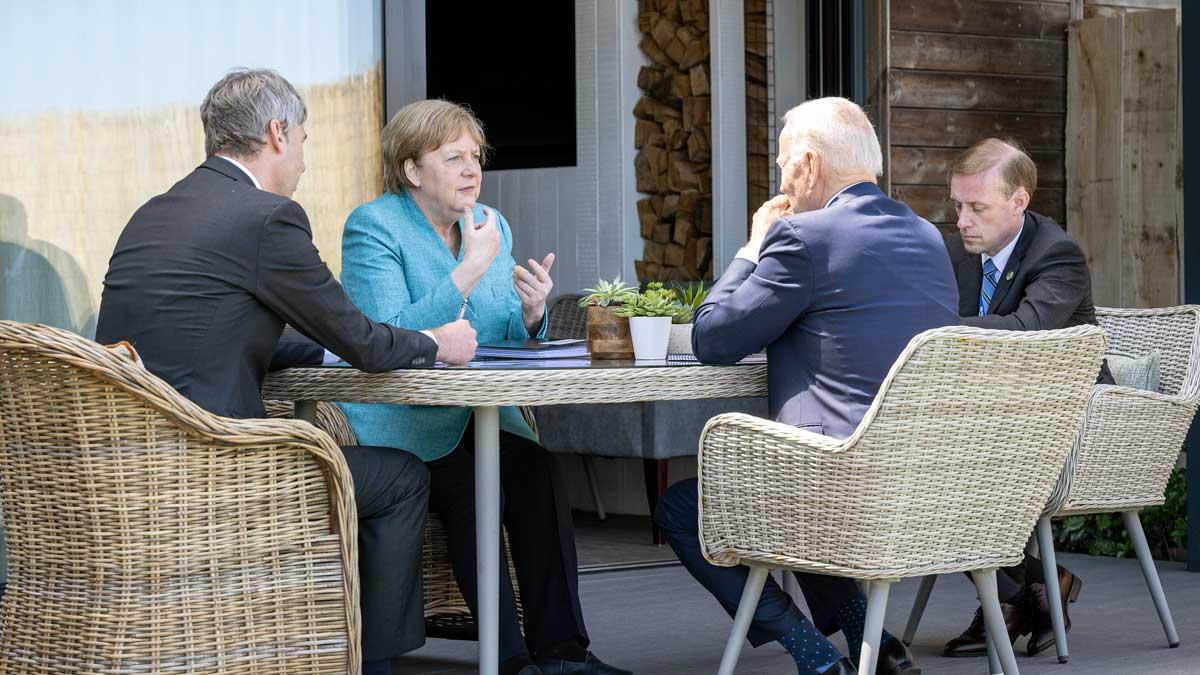 Angela Merkel y Joe Biden durante su primer encuentro, en la cumbre del G7. Foto: EP