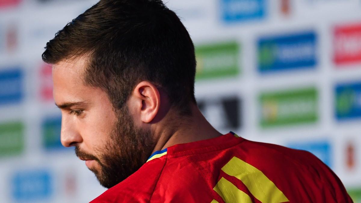 Jordi Alba, en una rueda de prensa de la Selección. (Getty)