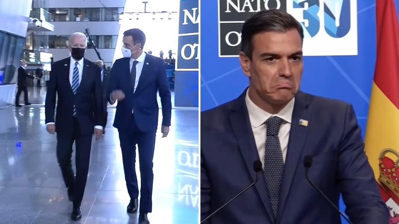 Pedro Sánchez con Joe Biden en la cumbre de la OTAN.