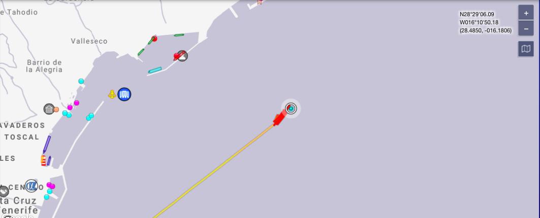 Lugar donde se encuentra el barco en tiempo real.