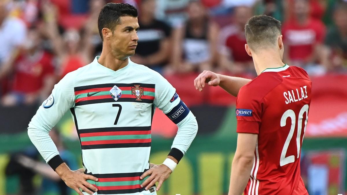 Cristiano Ronaldo durante el Hungría-Portugal. (Getty)